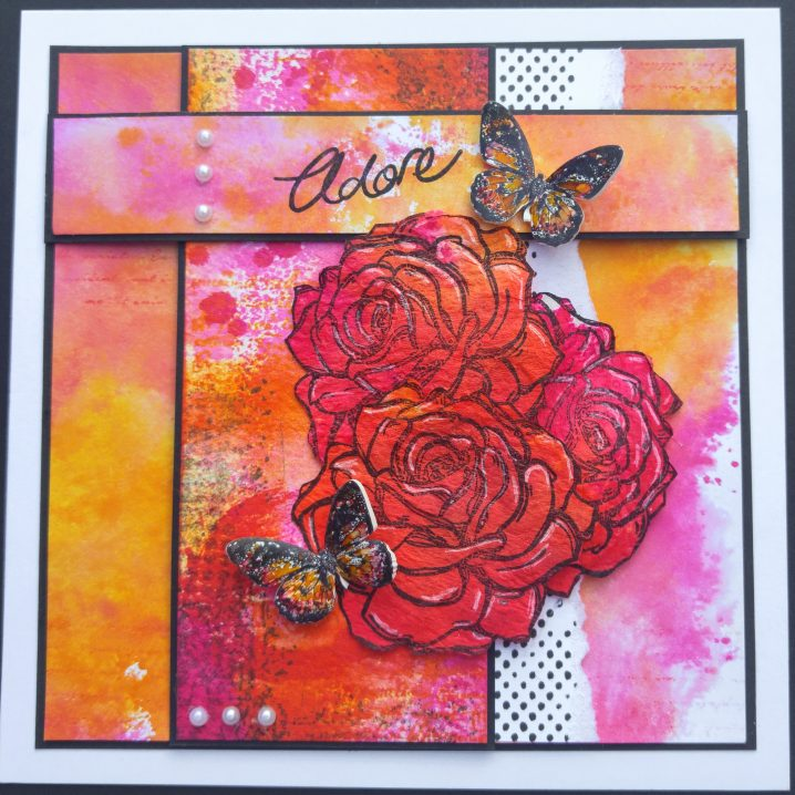 Roses mixed media card